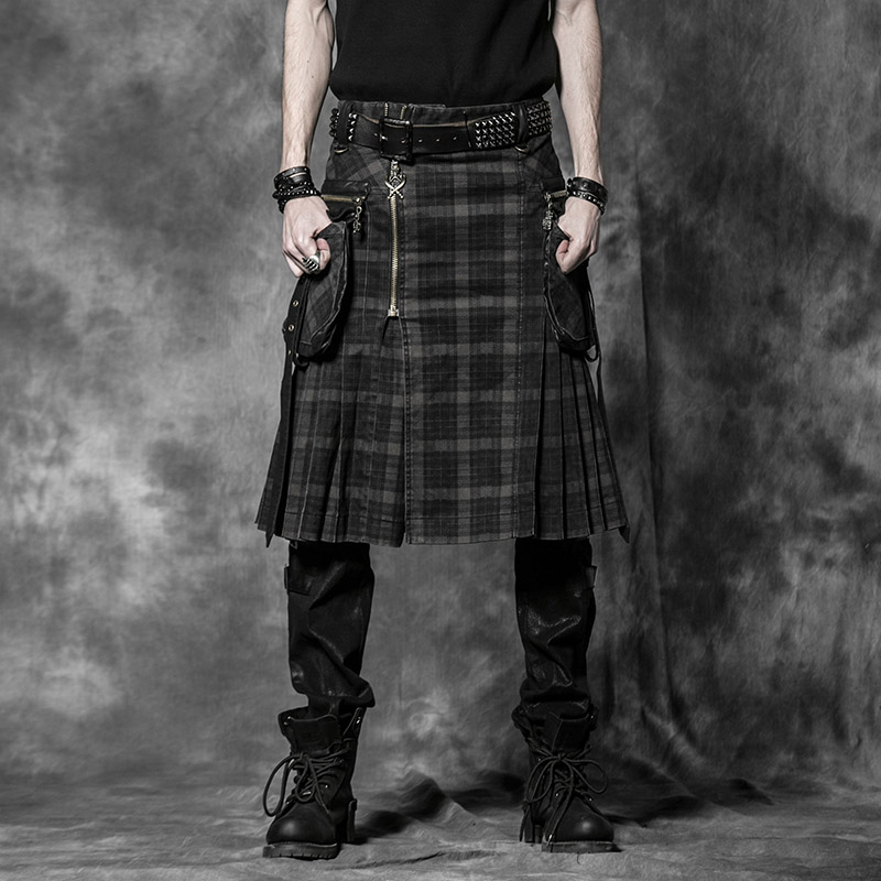 Punk Men Scottish Kilts Casual Pants with Two Pockets Steampunk Gothic
