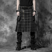 Punk Men Scottish Kilts Casual Pants with Two Pockets Steampunk Gothic Popular England Style Stripes Skirts