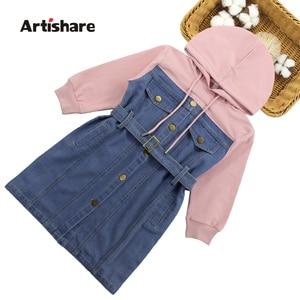 Image 1 - Dresses For Girls 2020 Spring Denim Patchwork Dress Hooded Girl Full Sleeve Party Dress Teenage Girls Clothing 6 8 10 12 13 Year