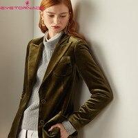 Women Notched Long Sleeve Velvet Suit Blazer Autumn Fashion Casual Basic Work Office Business Blazer Outwear