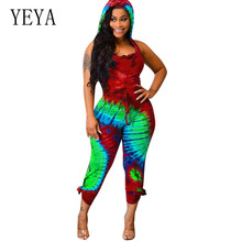 YEYA Rompers Casual Womens Hooded Sleeveless Tie-up Jumpsuits Fashion Tie Dyeing Bodycon Bandage Playsuits Women Combishort