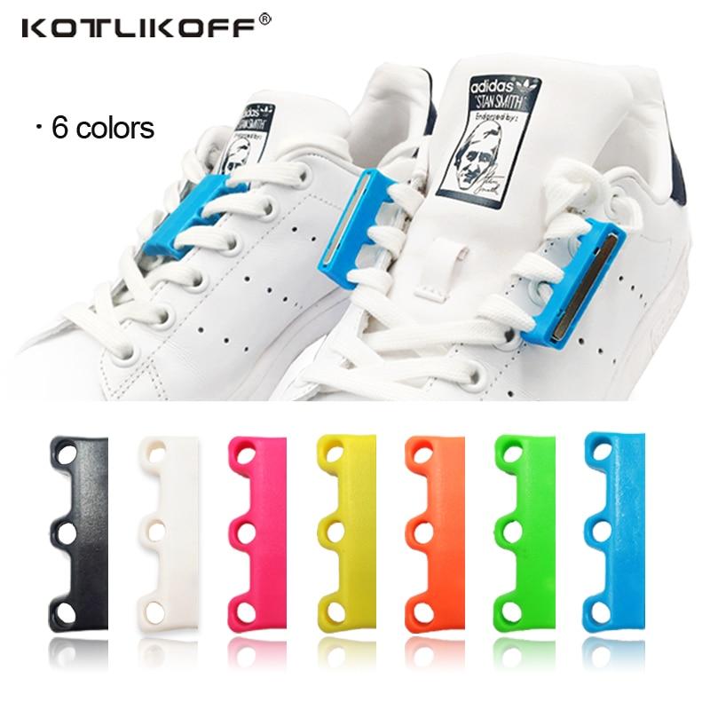 Kotlikoff 1 Pair 6 Color Shoelaces Magnetic Shoelace Buckle Lazy Closures Lacet Chaussure Shoe Laces No To Tie Lazy Shoe Laces