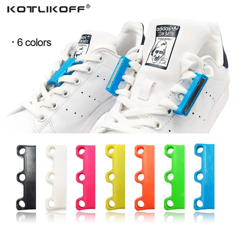 KOTLIKOFF 1 par 6 color los cordones de los zapatos de cordones hebilla perezoso cierres Lacet Chaussure los cordones de los zapatos que No corbata zapato Perezoso cordones
