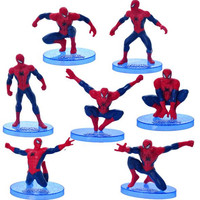 7Pcs Red Spiderman Action Figures Toy Versions For Kids 2016 New Superhero Spider Man Figurins DIY