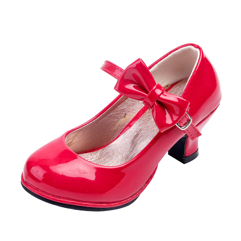 Girls High Heel Princess Sandals Kids Party Shoes Classic Bow Patent Leather Little Girls Wedding Dance Children Black Pink Red