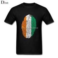 Costa d'avorio Bandiera di Impronte Digitali T Shirt Da Uomo Boy Moda Manica Corta Giorno Del Ringraziamento Personalizzato XXXL Coppia T Shirt