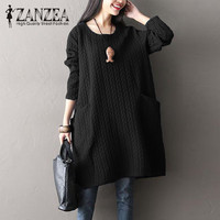M 5XL Top Blusas ZANZEA Women Autumn Casual Solid O Neck Full Sleeve Pockets Party Black