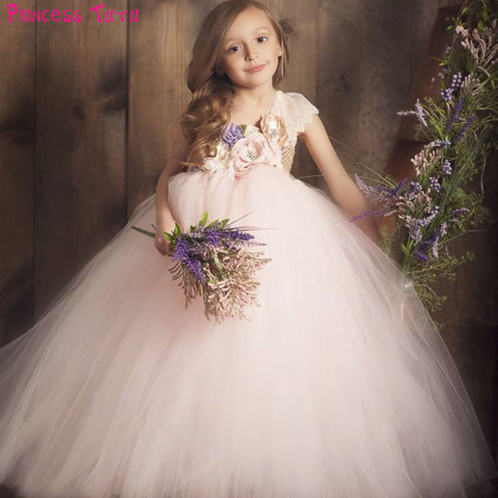 Blushing Lilacs Tutu Dress One Shoulder Lace Flowers Girls Wedding Birthday Party Tulle Dresses Kids Clothes For Photos Holidays