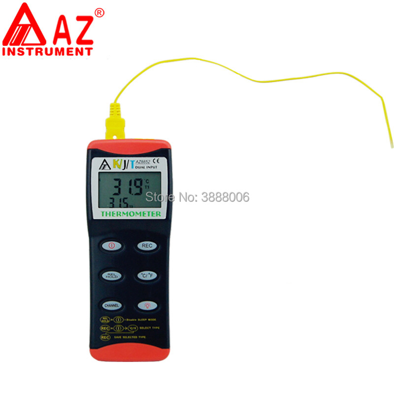 AZ8852 AZ-8852 Thermometer Picture With K/J/T Type Probe Thermometer RS232 Dual Input Thermocouple Thermometer