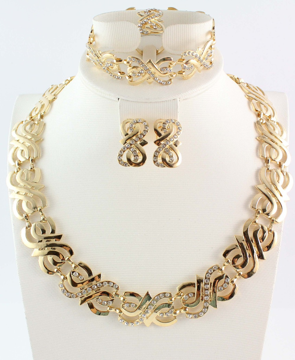 Free shipping wedding gold jewelry sets gold color jewelry sets gold