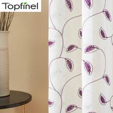 Topfinel Leaves Pattern Embroidered White Sheer Curtains for Living Room Bedroom Tulle Curtains for Kitchen Window Treatments(China)