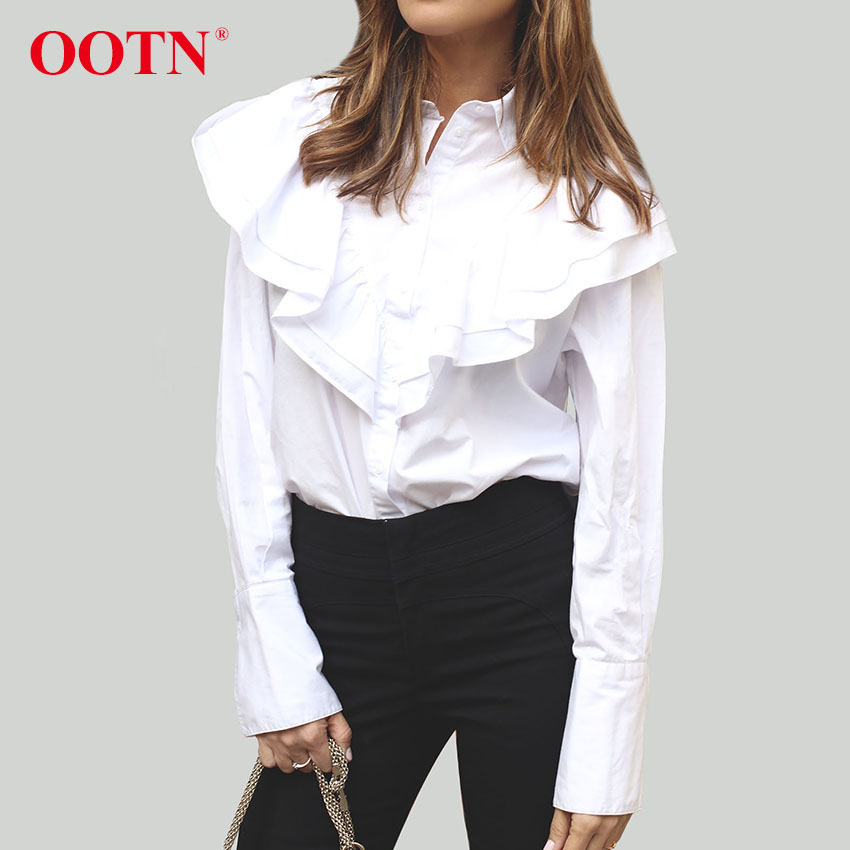 OOTNOOTN White Office Blouse Women Long Sleeve Tunic Blouse Tops Female 2018 Fashion Chemise Shirts Ruffled Blouse Casual Clothe