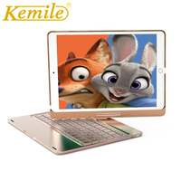 Kemile 7 Colors Backlit Smart 360 Degree Rotating Metal Wireless Bluetooth 3.0 Keyboard for ipad air 2 Cover For New iPad 2017