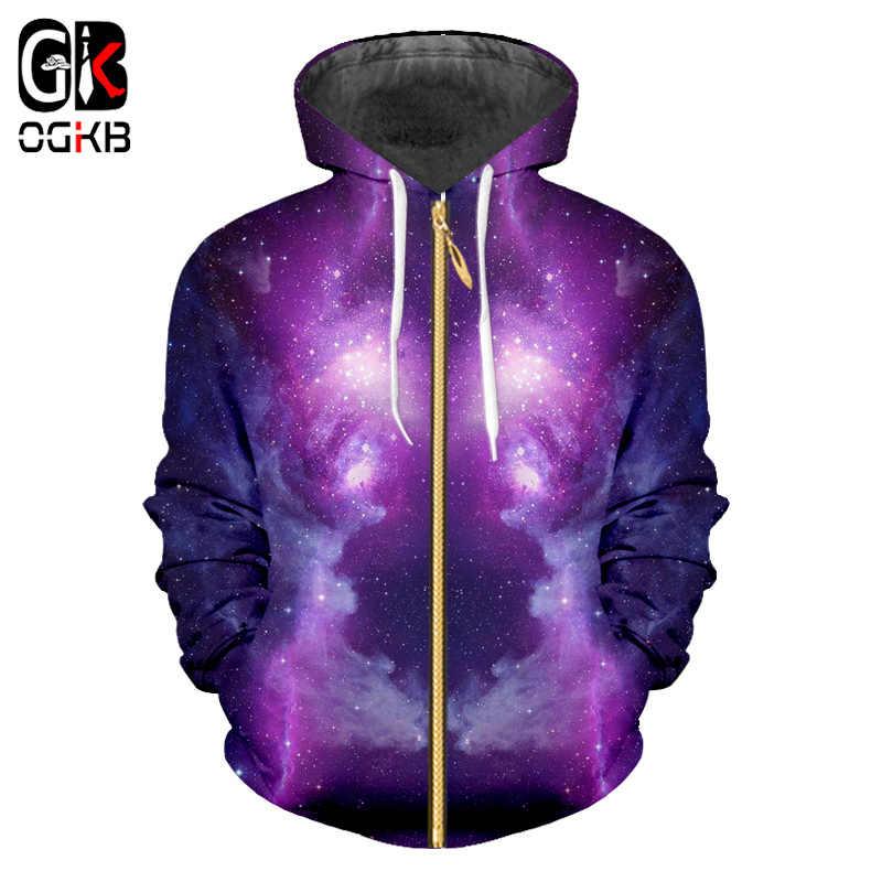 OGKB мужской спортивный костюм для хип-хопа с длинным рукавом с капюшоном куртка Осень Зима Мужчины 3d принт фиолетовый Галактика Космос 3D толстовки на молнии с капюшоном