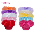 Cute Baby Girls Short Pants Cotton Layers Chiffon Ruffled Newborn Bloomer Solid Color Shorts Kids Diaper Covers PP Shorts