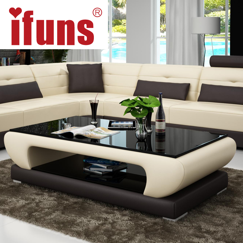 IFUNS Living Room Furniture Modern New Design Coffee Table Glass Top Wood Base