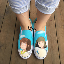 Wen Mens Womens Canvas Sneakers Design Anime Spirited Away Hand Painted Shoes Slip On Flats Choose for Gifts