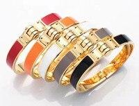 Wholesale High Quality Titanium Steel H Bracelet Bangle Spring Black Gray Orange Golden Horseshoe Buckle Enamel