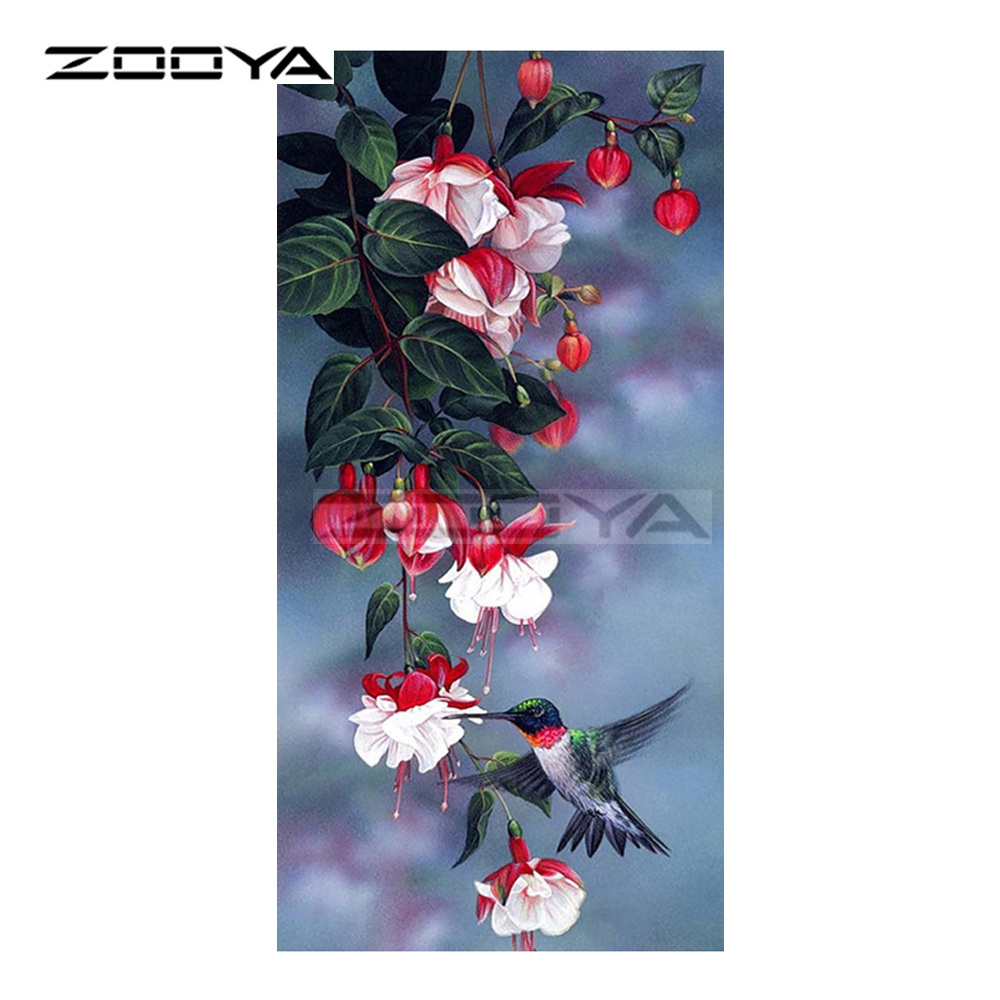 ZOOYA Diamond Embroidery Hummingbird & Pink Flowers Diamond Painting Cross Stitch Full Square Rhinestone Mosaic Decoration BK277