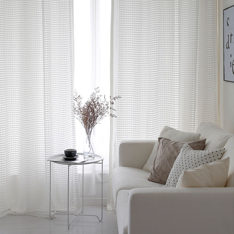 Sheer Curtains White Modern Translucidus Home Decoration Plaid Tulle For Living Room Single Panel TG1503 In From Garden On