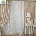 Champán dormitorio investigación de la ventana cortina personalizado con cenefa y perlas para la sala de estar