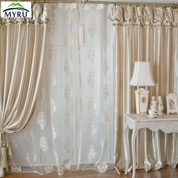 MYRU champagne bedroom customized curtain with valance and beads window screening for living room