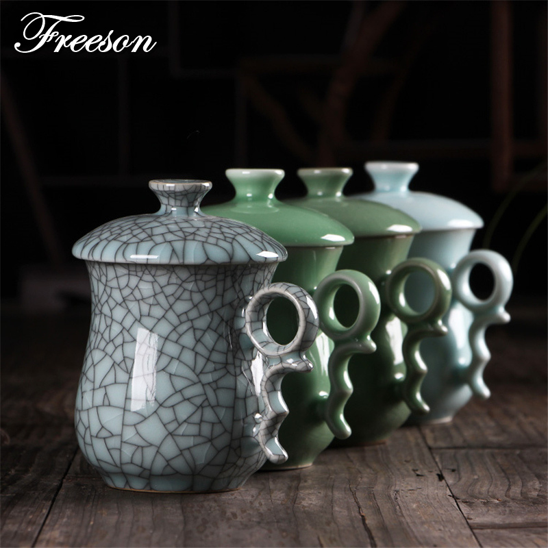 Retro Chinese Longquan Celadon Tea Mug with Lid Handmade Crackle Glaze Porcelain Tea Cup 320ml Teacup Office Gift Mug