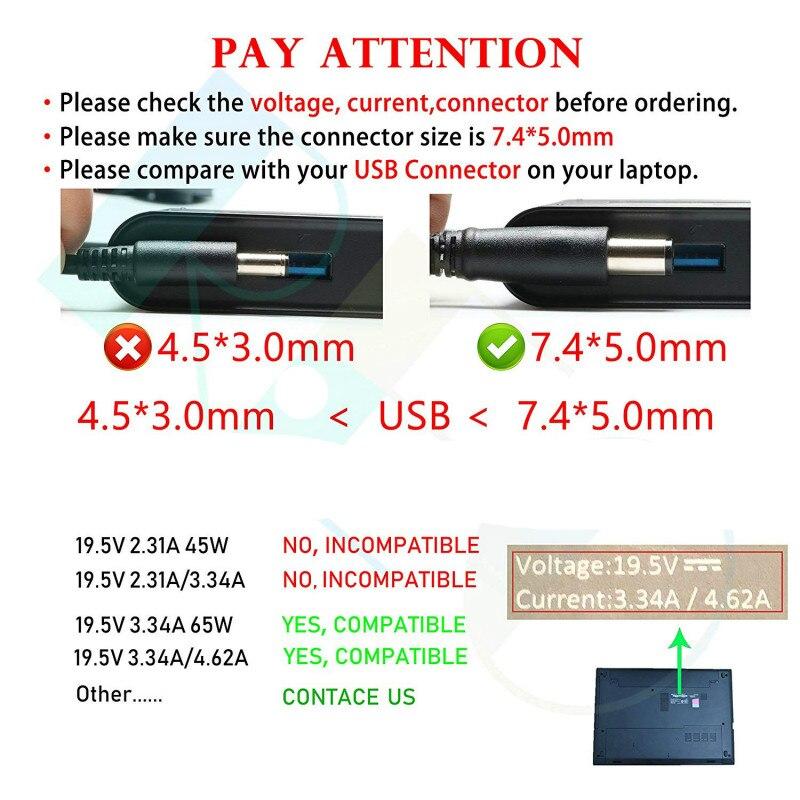 Новое подлинное 19,5 V 3.34A 65W AC зарядное устройство для Dell Latitude 7480 7490 5490 7280 7390 E5430 E6230 E6330 6430U адаптер питания для ноутбука