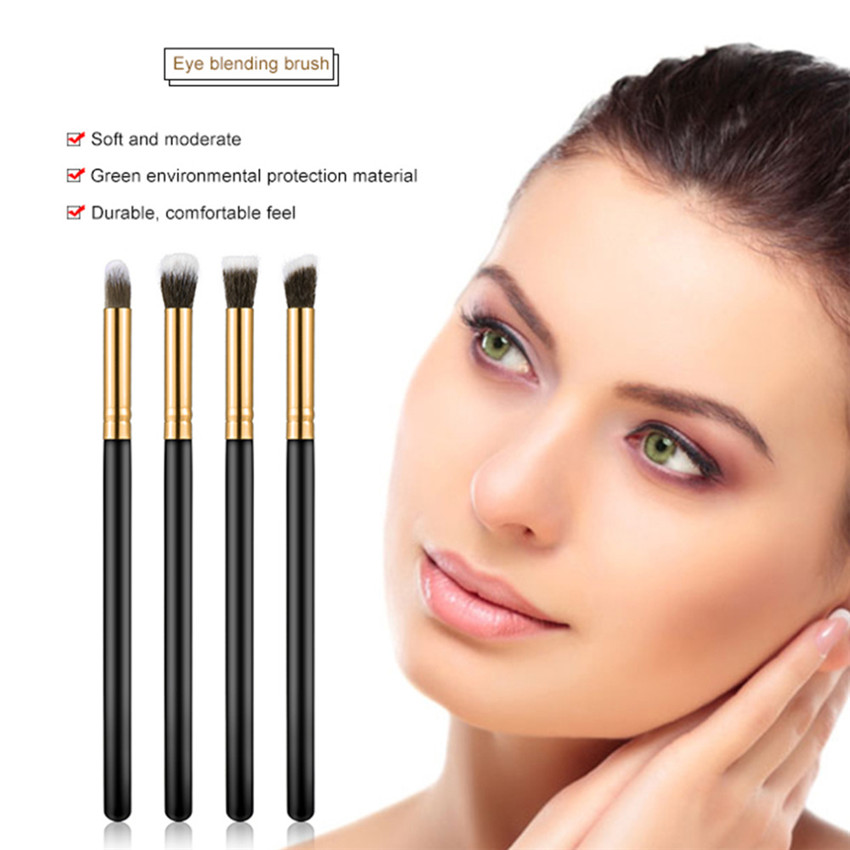 Image 5 - SAIANTTH 4pcs eyes brushes set makeup black gold long thin eyeliner eyeshadow brush kit maquiagem protable beauty tool Masca-in Eye Shadow Applicator from Beauty & Health