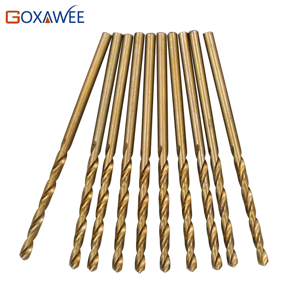 GOXAWEE 10pcs HSS Cobalt Twist Drill Bit Set HSS M35 Co Drill Bit 1mm 1.5mm 2mm 2.5mm 3mm used for Steel Stainless Steel hss co high speed steel m35 cobalt 4 5 6 8 10mm drill bit tool set a04 17