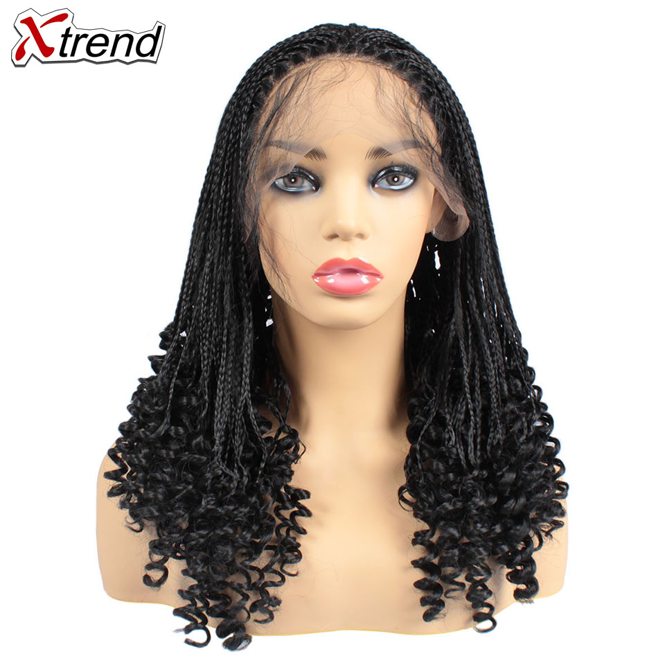 Xtrend Braided Wigs Synthetic Box Braids Wigs For Black Women Lace Front Braid Wig Curly End