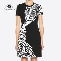 Платье элегантные женские с коротким рукавом животных тигра платье с принтом для девочек черный линии платье женщины 2018