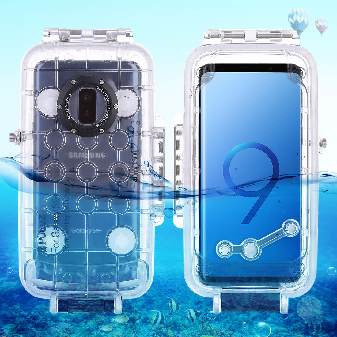 40m/130ft Waterproof Diving Housing Case for Samsung Galaxy S9 S9 Plus Photo Video Taking Underwater Cover Case for S9P S9+40m/130ft Waterproof Diving Housing Case for Samsung Galaxy S9 S9 Plus Photo Video Taking Underwater Cover Case for S9P S9+