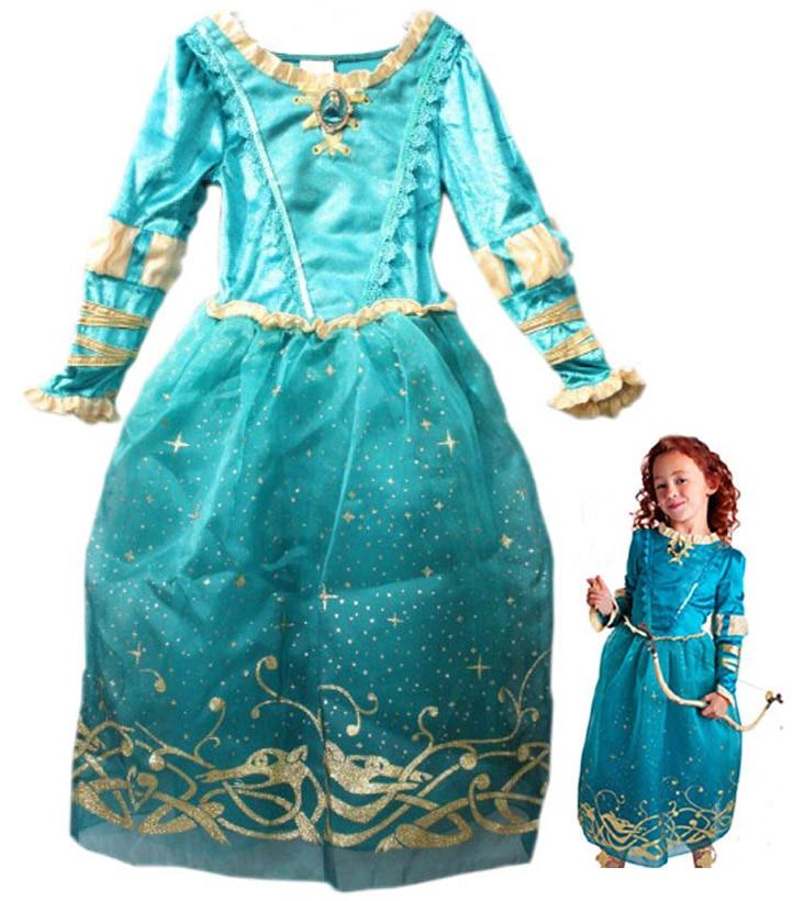 Free shipping girl children Tangled Rapunzel Brave Merida princess costume dress for 4 12 years old