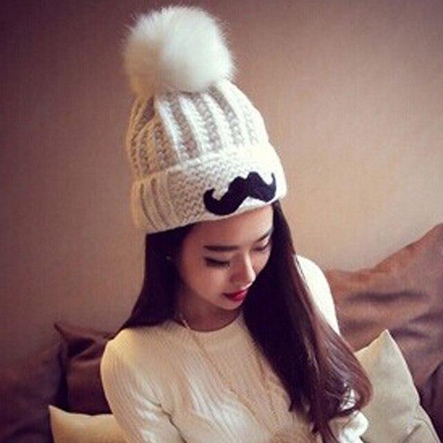 Cute Korean Children Hat Hair Ball Cap Beard Pattern Knitted Hat