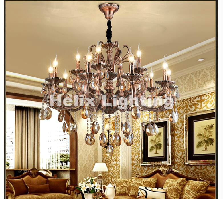 Free Shipping Luxury Crystal Chandelier Zinc Alloy Chandelier Classic Crystal Lustre Hanging Lamp for Foyer Cristal Candle Bulbs