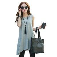 2017 Summer Women Long Top T Shirt Fashion Irregular Hem Top Solid Modal Casual Tank Tops