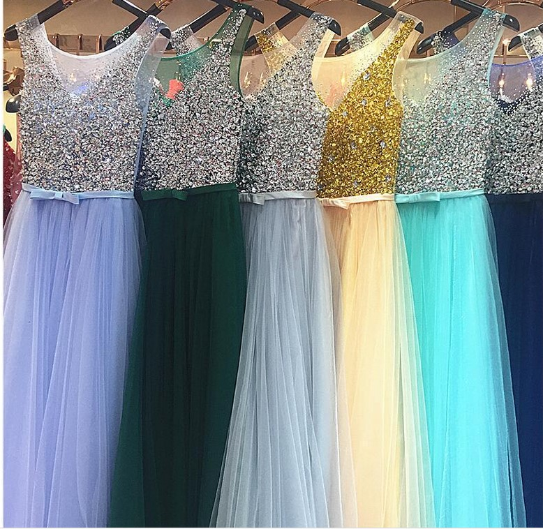 Beauty Emily Green Beads Evening Dresses 2019 For Women Plus Size A Line Wedding Party Prom Dresses Princes