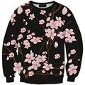 2016 Осень Женщины Цифровой Печати Повседневная Яркий Plum Цветы на открытом воздухе Весна пуловер