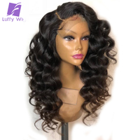 LUFFY Loose Wave Lace Front Human Hair Wigs For Women Natural Black 150% Density PrePlucked Brazilian Non Remy With Baby Hair