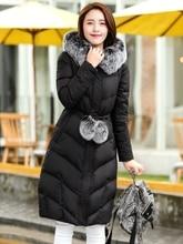 2016 Winter New Women Cotton Down Parka Hooded Fashion Large Fur Collar Adjustable Waist Outwear Long Leisure Warm Parkas M-xxxl