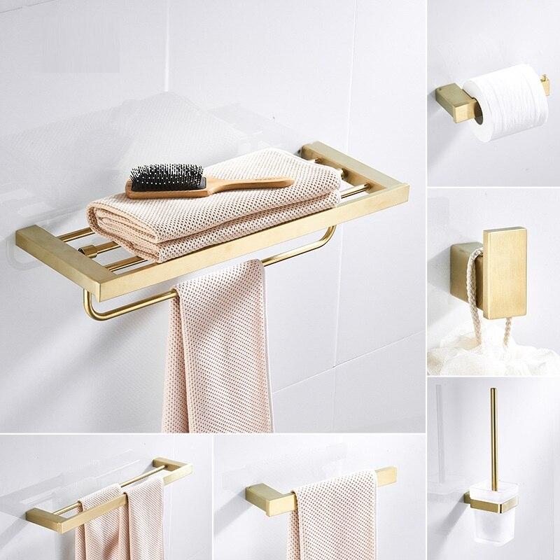 Mttuzk 304 Stainless Steel Towel Rack Bar Brushed Gold Bathroom Hardware Set