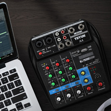 A4 Multi-purpose Audio Mixer with Bluetooth Record 4 Channels Input Mic Line Insert USB Playback Sound Card Small Mixing Console a4 multi purpose audio mixer with bluetooth record 4 channels input mic line insert usb playback sound card small mixing console