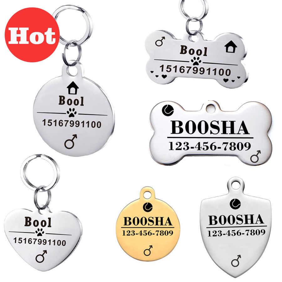 Personalized Dog Id Tags Stainless Steel Pet Id Tags For Cats And Dogs Collar Accessories Dog Tag Engraved Tel Sex Name Tag