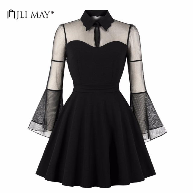 d57df7d693b5b JLI MAY Vintage Mesh Black Dress Women Clothes Halloween Party Turn-down  Collar Flare Sleeve Mini Ladies 70s Elegant Sexy Retro