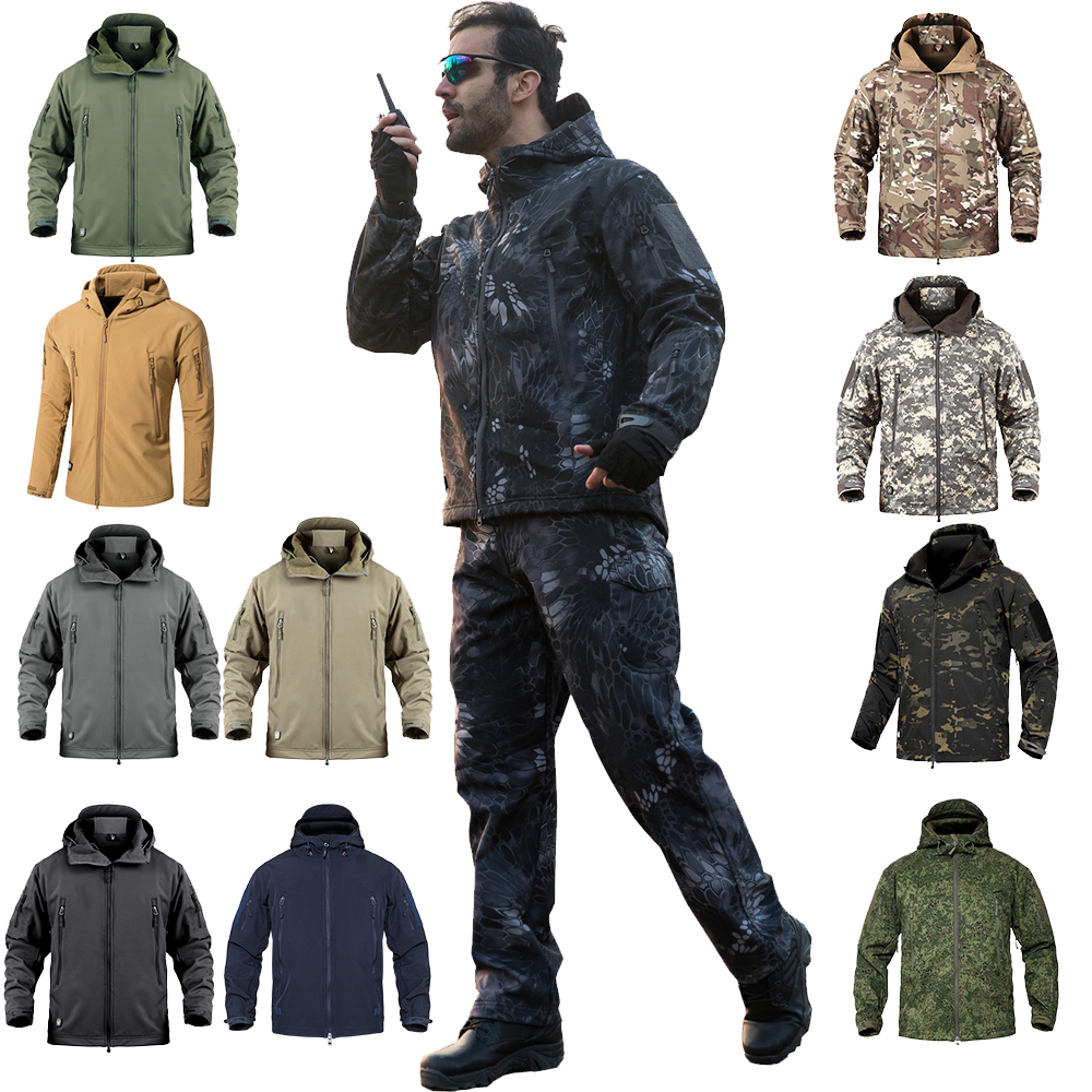 Softshell Tactical Coats Jacket-Sets Windbreaker Hunting-Clothes Military Hiking Winter