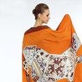 2017 El Más Nuevo Bandana Bufanda Cuadrada de Seda de Las Mujeres de la Marca de Lujo Bufandas Suaves de la Moda de Impresión Caballo de Gran Tamaño Chal
