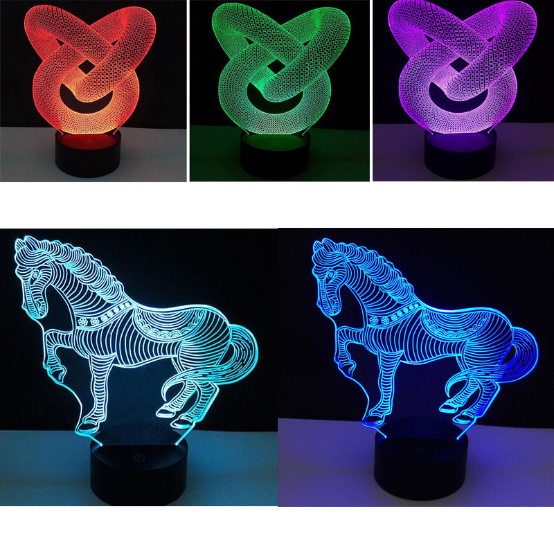 2 Color Lamp Bases USB Touch For 3D LED NightLight Replacement Porta Lampad Colorful Light Base Table Decor Holder Drop Shipping