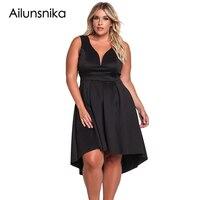 Ailunsnika 2018 New Arrival Summer Women S Fashion Navy White Black Sleeveless V Neck Plus Size