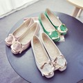solid color flats female 2016 spring Semicircular metal  buckle flat shoes
